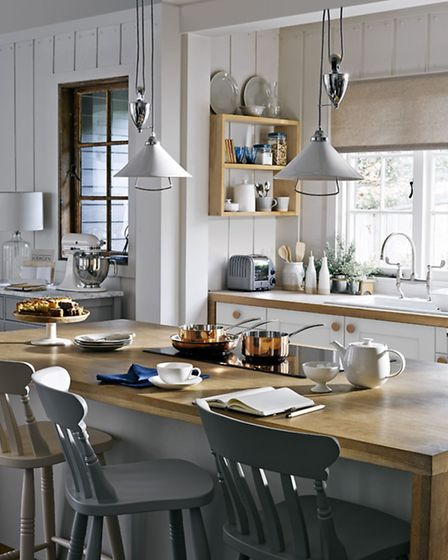 Carradale kitchen; Selby ceramic rise and fall ceiling pendant and Cecile bar chair, both from the C