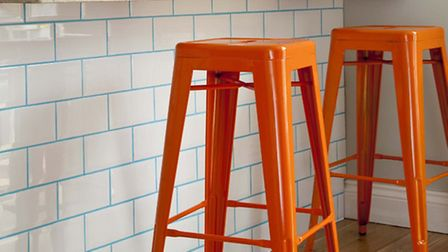 Cookhouse Metro Tile in white with teal grout, British Ceramic Tile
