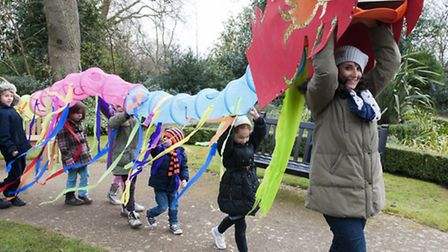 Children take part in a dragon dance performance at Lauderdale House for Chinese New Year. Picture: