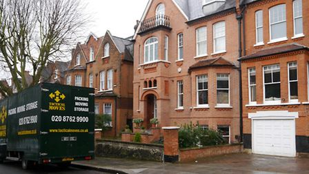 The removal van outside the former house of Mr Carney