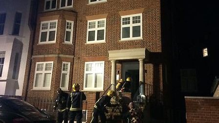 Firefighters at the block of flats in Pilgrim's Lane, Hampstead. Picture: Kate Samuelson