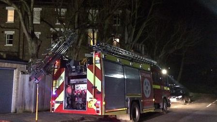 A fire engine in Pilgrim's Lane, Hampstead. Picture: Kate Samuelson