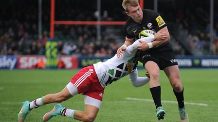 Nick Tompkins' (right) in action for Saracens