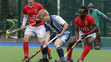 Will Naylor (centre) equalised for Hampstead & Westminster but they were defeated. Pic: Mark Clews