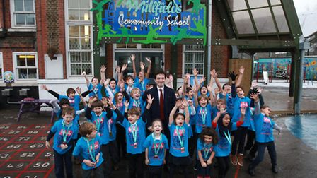 Cllr Jonathan McShane at the launch of the Run Hackney fitness challenge at Millfields school.