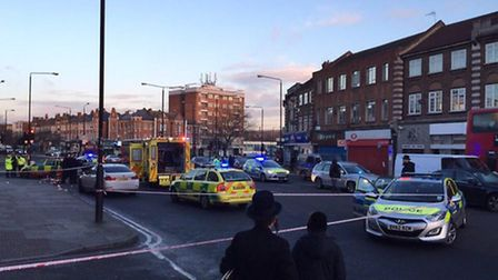 The scene of the accident in Stamford Hill. Photo @ajmanutd10
