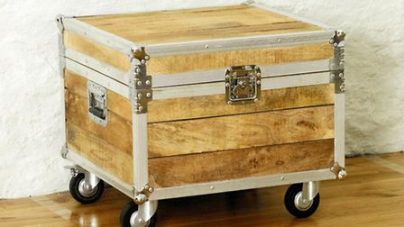 Road crew coffee trunk, made from salvaged timber with aluminium trim, Hampshire Furniture. PA Photo
