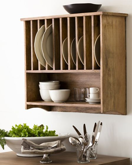 Wall mounted plate rack, Alison At Home. PA Photo/Handout