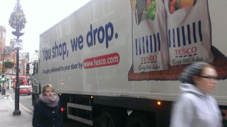 A Tesco lorry parked illegaly outside the store in Heath Street