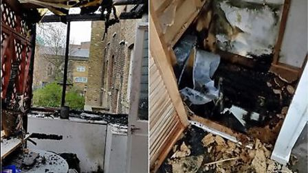 Damage done by the fire. Picture: London Fire Brigade