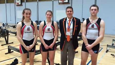 Princeton rowing coach William Manning with Mossbourne Academy students (left to right): Kesiah Roe,