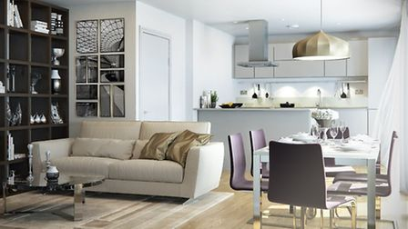 What a typical living/kitchen area at the Town apartments will look like