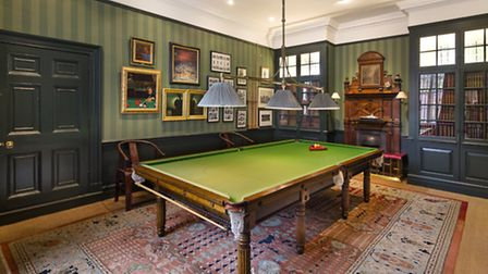 Billiard and games room in Grade II* listed Cannon Hall, Hampstead.