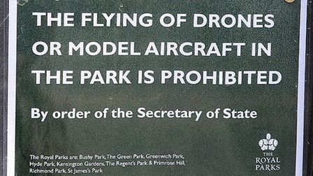 The Royal Parks put up posters banning the use of drones