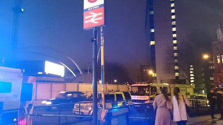 Emergency services outside Old Street tube station. Photo: L�onie Chao-Fong