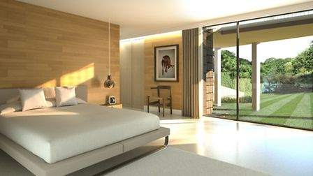 Artists impression of the master bedroom with a view of the pond