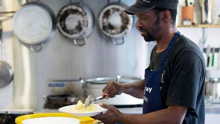 Keith serves up at Headway's kitchen in Shoreditch [photos: Helena Smith]