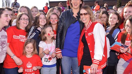Special guest Miranda Hart with organiser Emily Turnham and competitors at the 2015 Gallopathon in a