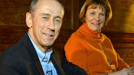 National Theatre director Nicholas Hytner backstage at Cecil Sharp House with Dame Joan Bakewell. Pi