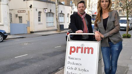 Phil Cowan with Jo Barnett, owner of Prim nail & beauty salon, outside the shop which is opposite th