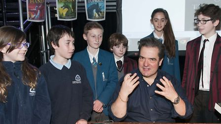 Author Charlie Fletcher talks to UCS, Hampstead Parochial and UCL Academy pupils. Picture: Nigel Sut