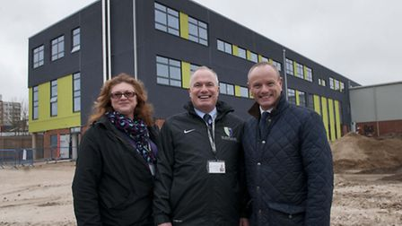 From left to right: Avis Johns, headteacher Mick Quigley and Finchley and Golders Green MP Mike Free