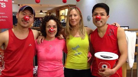 Susie and Jaime celebrate Red Nose Day with the Zumba team