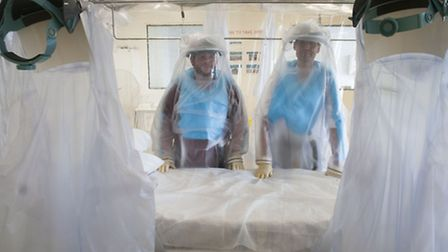 Inside the Royal Free's infectious disease unit where Ebola patients are treated. Picture: Nigel Su