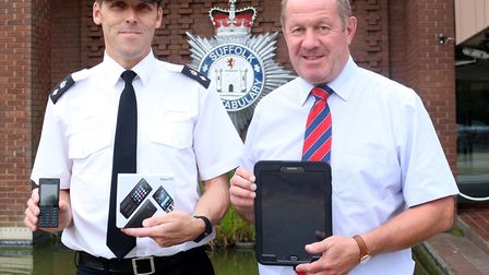 Chief Supt Mike Fawcett with Suffolk Police and Crime Commissioner Tim Passmore. Picture: Suffolk Po