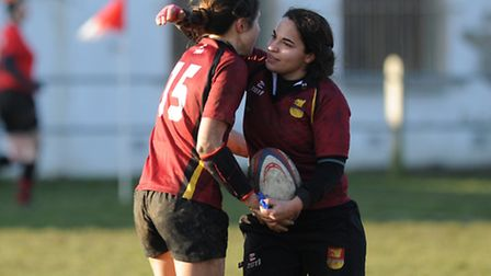 Lilly Hunt and Francisca Hall both scored tries for Hampstead Ladies. Pic: Paolo Minoli