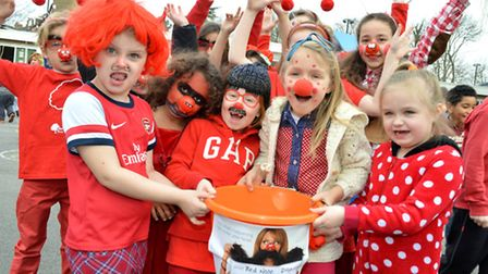 Pupils at Gospel Oak School celebrate Red Nose Day. Picture: Polly Hancock