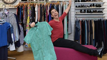 Comedian Russell Kane donated clothes to the PDSA in Kentish Town