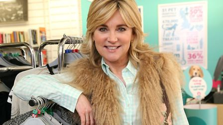 Anthea Turner donates clothes to the PDSA shop in Kentish Town