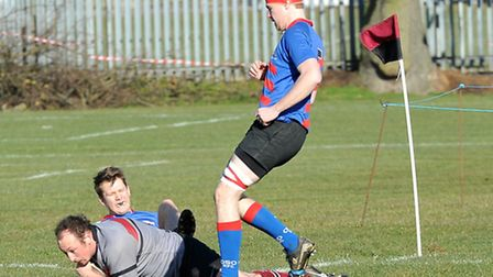 UCS prop Gareth Watson-Cowan scores his side's early first try. Pic: Nick Cook
