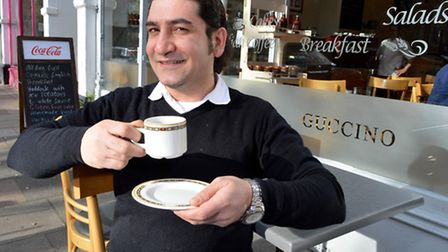 Amerigo Gucci Di Amoi with a cup of hot-selling Earl Grey tea at Guccino cafe in England's Lane, Bel