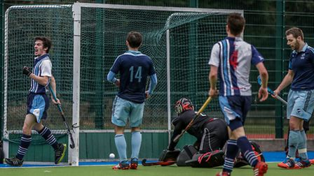 Hampstead and Westminster's James Simpson (left) celebrates his goal against Reading. Pic: Mark Clew