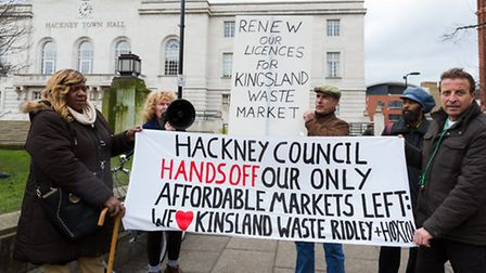 Protestors outside Hackney Town Hall. After the protest, a petition against the council closing down
