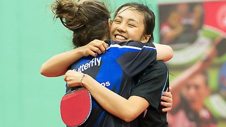 Tin-Tin Ho (right) celebrates with Maria Tsaptsinos, with the pair winning the women's doubles title