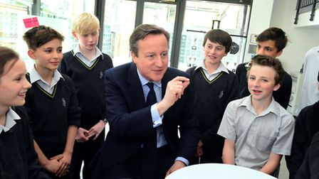 David Cameron speaks to pupils at the Archer Academy.
