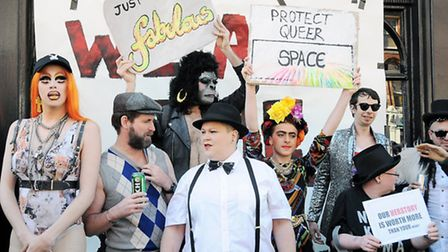 Protesters gather outside the Black Cap pub in Camden High Street. Picture: Dieter Perry