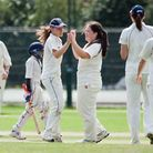 Hampsteads Sian Culley (left) and Jess Black celebrate a wicket against Chesham last season