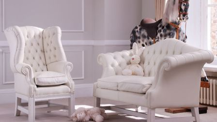 Baby wing chair and Baby Sheraton sofa, available in leather in various neutral shades including whi