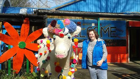 Amber and the knitted cow