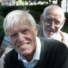 Rainbow George Weiss and Ronnie Carroll (front) celebrate Mr Carroll's 80th birthday. Picture: Nigel