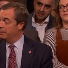 A video of Harriett Ellis went viral after she rolled her eyes behind Nigel Farage on Channel 4's Bi