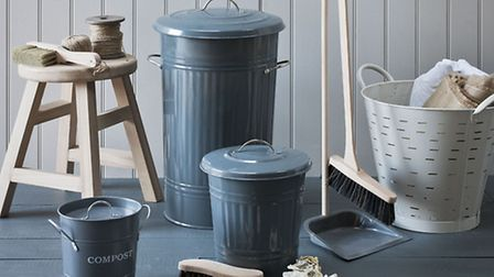 Undated Handout Photo of a kitchen bin and mini bin, compost bucket, galvanised dust pan and brush;