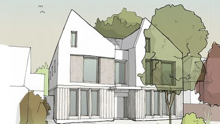 A drawing of the front elevation of the forthcoming Highgate house