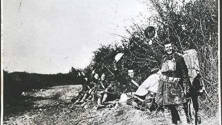 Members of the 6th Infantry the day after signing of the Armistice, Near Remoiville, France, Remoivi