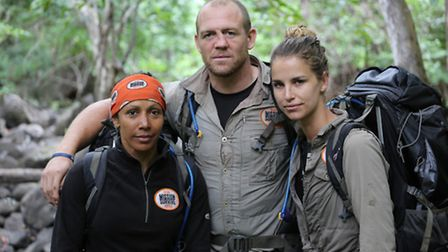 Dame Kelly Holmes, Mike Tindall and Vogue WIlliams in Bear Grylls' Mission Survive. Photo (C) betty