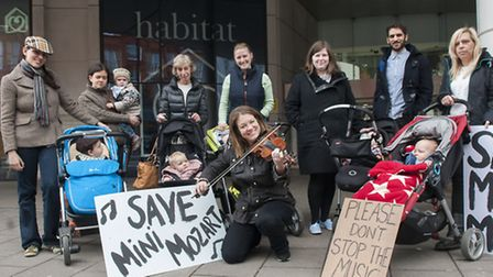 Mini Mozart Protestwith Clare-Louise Shaw outside The Venue in the O2 Centre after the their last